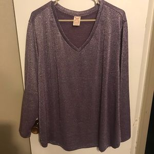 Tops - Purple shimmer long sleeve top